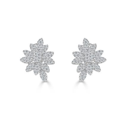 SE10123AW2 400x400 - BOVA SIGNATURE -18K WHITE GOLD DIAMOND D4.19CT FLOWER EARRINGS - SE10123A W2