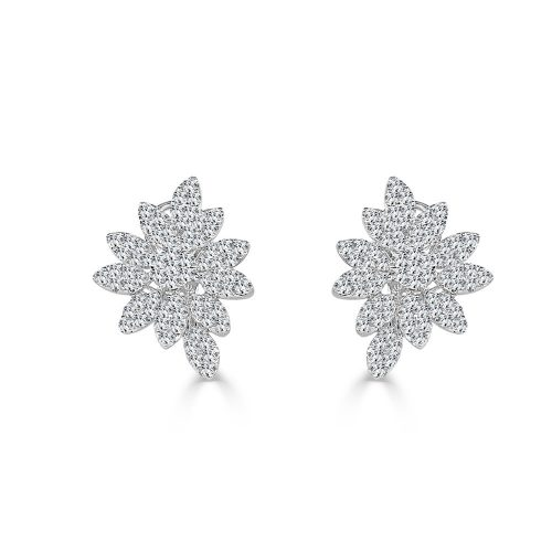 SE10123AW2 500x500 - BOVA SIGNATURE -18K WHITE GOLD DIAMOND D4.19CT FLOWER EARRINGS - SE10123A W2