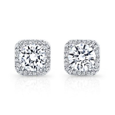 fm27621 18w front 400x400 - 18K WHITE GOLD SQUARE DIAMOND HALO STUD EARRINGS FM27621-18W