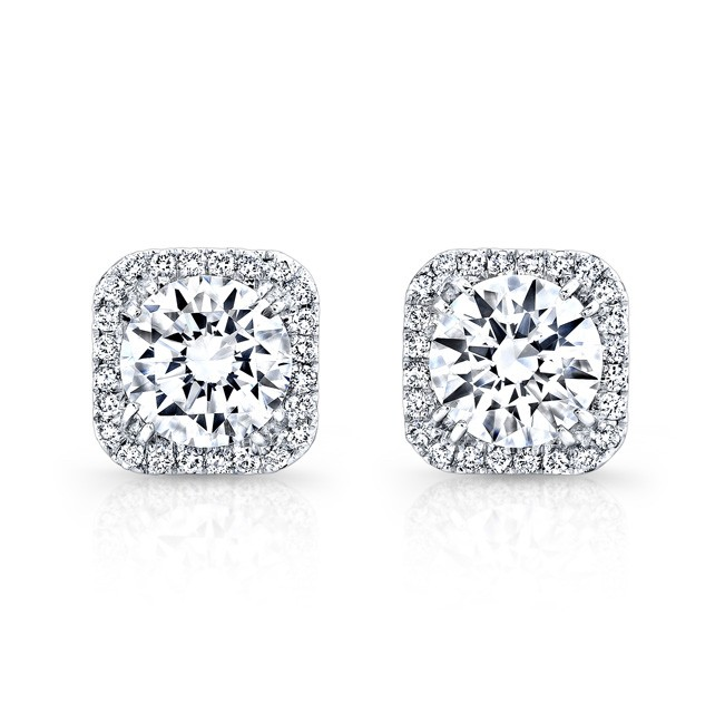 18k White Gold Square Diamond Halo Stud Earrings Fm27621 18w