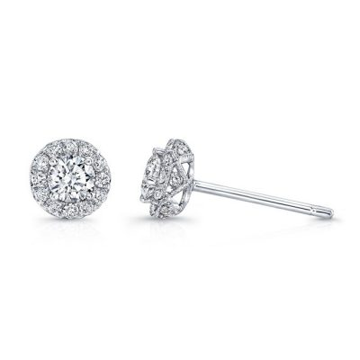 fm30165 18w 400x400 - 18K WHITE GOLD WHITE DIAMOND HALO STUD EARRINGS FM30165-18W