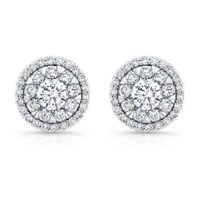 fm33310 18w 400x400 - 18K WHITE GOLD FOREVERMARK® DIAMOND CLUSTER EARRINGS FM33310-18W