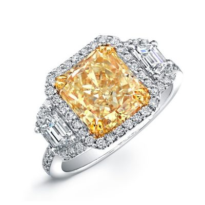 14K WHITE AND YELLOW GOLD RADIANT FANCY YELLOW DIAMOND ENGAGEMENT RING NK24257FY WY 400x400 - 14K WHITE AND YELLOW GOLD RADIANT FANCY YELLOW DIAMOND ENGAGEMENT RING NK24257FY-WY