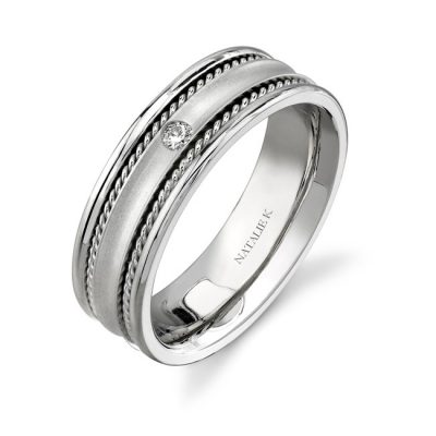 14K WHITE GOLD BEZEL ROPE TRIM DIAMOND MENS BAND NK15380 W 400x400 - 14K WHITE GOLD BEZEL ROPE TRIM DIAMOND MEN'S BAND NK15380-W
