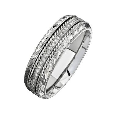 14K WHITE GOLD DETAILED PAVE ROUND DIAMOND MENS BAND NK15468 W 400x400 - 14K WHITE GOLD DETAILED PAVE ROUND DIAMOND MEN'S BAND NK15468-W