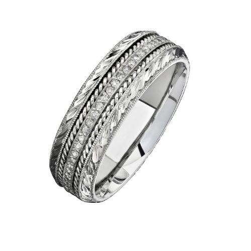 14K WHITE GOLD DETAILED PAVE ROUND DIAMOND MENS BAND NK15468 W 500x500 - 14K WHITE GOLD DETAILED PAVE ROUND DIAMOND MEN'S BAND NK15468-W