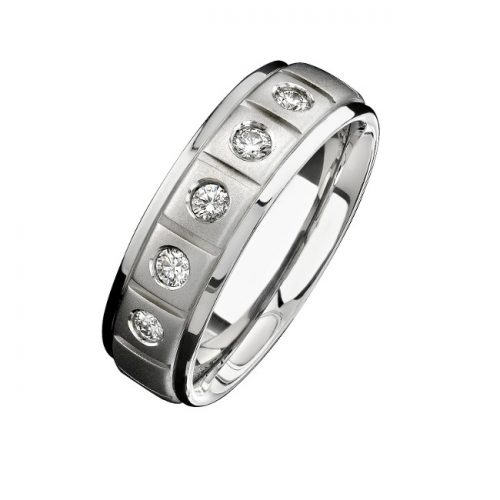14K WHITE GOLD FIVE STONE MATTE FINISH DIAMOND MENS BAND NK15386 W 500x500 - 14K WHITE GOLD FIVE STONE MATTE FINISH DIAMOND MEN'S BAND NK15386-W