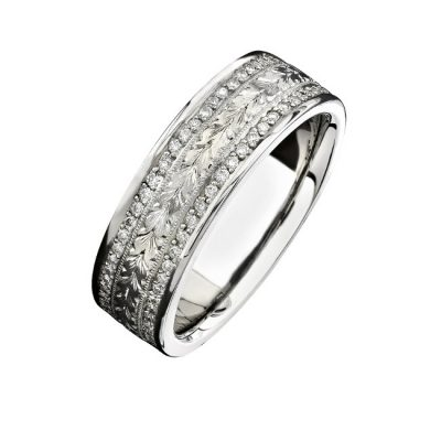 14K WHITE GOLD HAND ENGRAVED DIAMOND MENS BAND NK15384 W 400x400 - 14K WHITE GOLD HAND ENGRAVED DIAMOND MEN'S BAND NK15384-W