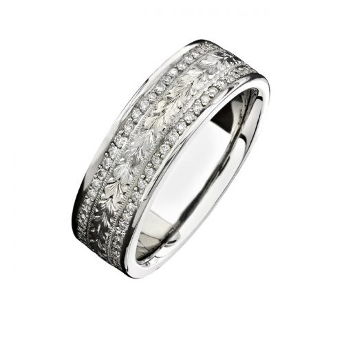 14K WHITE GOLD HAND ENGRAVED DIAMOND MENS BAND NK15384 W 500x500 - 14K WHITE GOLD HAND ENGRAVED DIAMOND MEN'S BAND NK15384-W