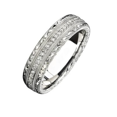 14K WHITE GOLD HAND ENGRAVED PAVE DIAMOND MENS BAND NK15387 W 400x400 - 14K WHITE GOLD HAND ENGRAVED PAVE DIAMOND MEN'S BAND NK15387-W
