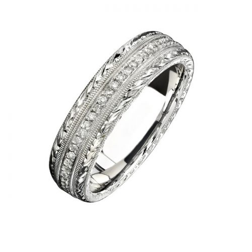 14K WHITE GOLD HAND ENGRAVED PAVE DIAMOND MENS BAND NK15387 W 500x500 - 14K WHITE GOLD HAND ENGRAVED PAVE DIAMOND MEN'S BAND NK15387-W