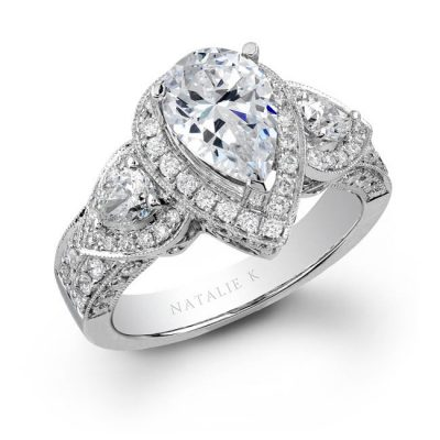 14K WHITE GOLD PEAR SHAPED SIDE STONE DIAMOND ENGAGEMENT RING NK15191 W 400x400 - 14K WHITE GOLD PEAR SHAPED SIDE STONE DIAMOND ENGAGEMENT RING NK15191-W