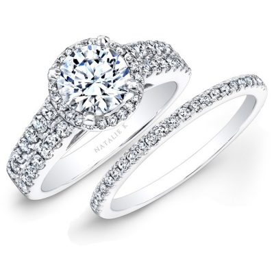 14K WHITE GOLD PRONG TWO ROW HALO WHITE DIAMOND BRIDAL SET NK25876WE W 400x400 - 14K WHITE GOLD PRONG TWO ROW HALO WHITE DIAMOND BRIDAL SET NK25876WE-W