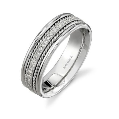 14K WHITE GOLD ROPE DETAIL PAVE DIAMOND MENS BAND NK15469 W 400x400 - 14K WHITE GOLD ROPE DETAIL PAVE DIAMOND MEN'S BAND NK15469-W