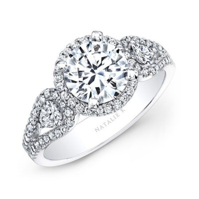14K WHITE GOLD WHITE DIAMOND HALO ENGAGEMENT RING WITH PEAR SHAPED SIDE STONES NK25435 W 400x400 - 14K WHITE GOLD WHITE DIAMOND HALO ENGAGEMENT RING WITH PEAR SHAPED SIDE STONES NK25435-W