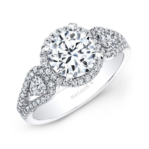 14K WHITE GOLD WHITE DIAMOND HALO ENGAGEMENT RING WITH PEAR SHAPED SIDE STONES NK25435 W 500x499 - 14K WHITE GOLD WHITE DIAMOND HALO ENGAGEMENT RING WITH PEAR SHAPED SIDE STONES NK25435-W
