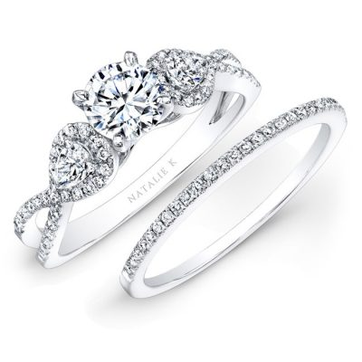 14K WHITE GOLD WHITE DIAMOND TWISTED SHANK BRIDAL SET WITH PEAR SHAPED SIDE STONES NK25434WE W 400x400 - 14K WHITE GOLD WHITE DIAMOND TWISTED SHANK BRIDAL SET WITH PEAR SHAPED SIDE STONES NK25434WE-W