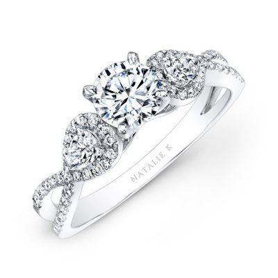 14K WHITE GOLD WHITE DIAMOND TWISTED SHANK ENGAGEMENT RING WITH PEAR SHAPED SIDE STONES NK25434ENG W 400x400 - 14K WHITE GOLD WHITE DIAMOND TWISTED SHANK ENGAGEMENT RING WITH PEAR SHAPED SIDE STONES NK25434ENG-W
