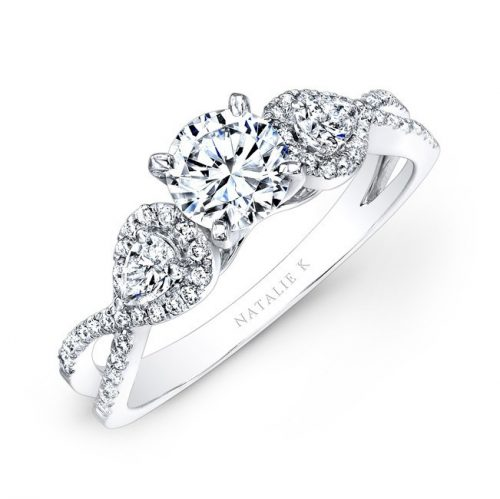 14K WHITE GOLD WHITE DIAMOND TWISTED SHANK ENGAGEMENT RING WITH PEAR SHAPED SIDE STONES NK25434ENG W 500x499 - 14K WHITE GOLD WHITE DIAMOND TWISTED SHANK ENGAGEMENT RING WITH PEAR SHAPED SIDE STONES NK25434ENG-W