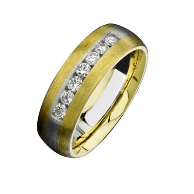 14K YELLOW WHITE GOLD BRUSHED CHANNEL DIAMOND MENS BAND NK13852 WY 400x400 - 14K YELLOW & WHITE GOLD BRUSHED CHANNEL DIAMOND MEN'S BAND NK13852-WY