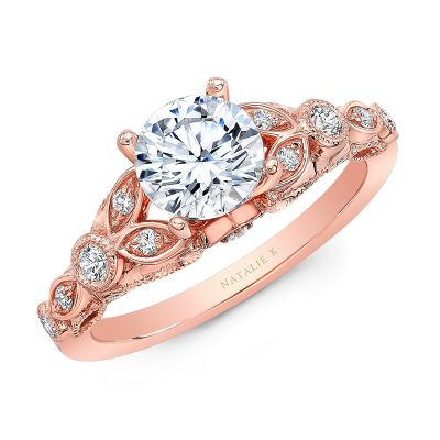 18K ROSE GOLD VINTAGE LEAF DESIGN ENGAGEMENT RING NK35966 R 400x400 - 18K ROSE GOLD VINTAGE LEAF DESIGN ENGAGEMENT RING NK35966-R