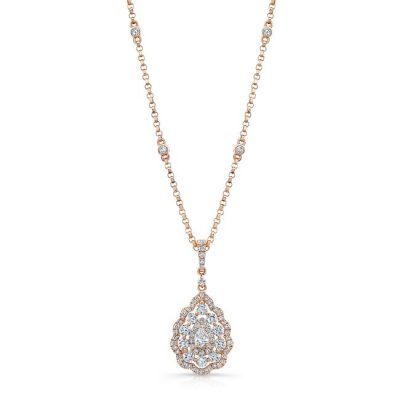 18K ROSE GOLD WHITE DIAMOND PEAR SHAPED CENTER FM31333 18W 400x400 - 18K ROSE GOLD WHITE DIAMOND PEAR SHAPED CENTER FM31333-18W