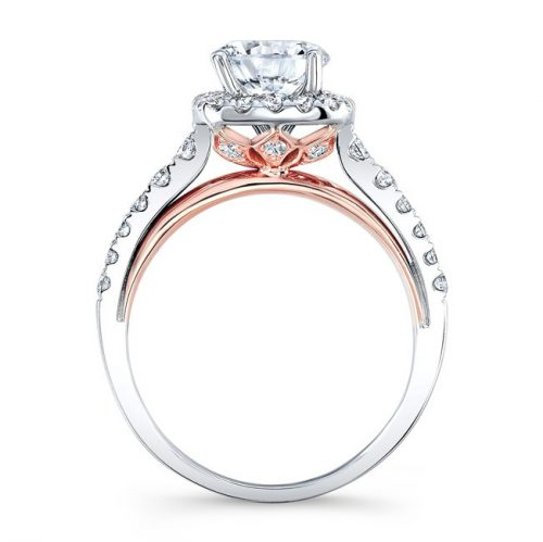 18K WHITE AND ROSE GOLD SQUARE HALO DIAMOND ENGAGEMENT RING NK33179 18WR 1 500x499 - 18K WHITE AND ROSE GOLD SQUARE HALO DIAMOND ENGAGEMENT RING NK33179-18WR