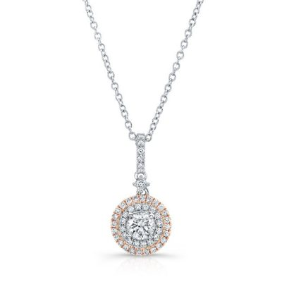 18K WHITE AND ROSE GOLD WHITE DIAMOND DOUBLE HALO PENDANT FM31338 18WR 400x400 - 18K WHITE AND ROSE GOLD WHITE DIAMOND DOUBLE HALO PENDANT FM31338-18WR