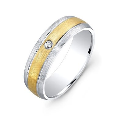 18K WHITE AND YELLOW GOLD BEZEL SET WHITE DIAMOND WEDDING BAND NK13855 18WY 400x400 - 18K WHITE AND YELLOW GOLD BEZEL SET WHITE DIAMOND WEDDING BAND NK13855-18WY