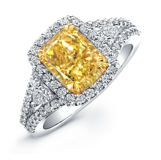 Beau 18K WHITE AND YELLOW GOLD CUSHION CUT FANCY YELLOW DIAMOND ENGAGEMENT RING  NK20895FY WY