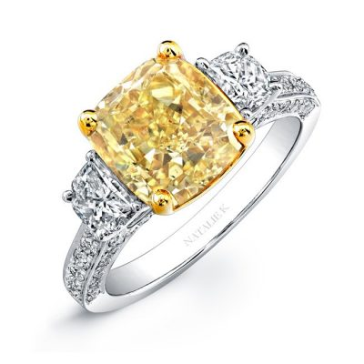 18K WHITE AND YELLOW GOLD CUSHION FANCY YELLOW DIAMOND ENGAGEMENT RING NK24370FY WY 400x400 - 18K WHITE AND YELLOW GOLD CUSHION FANCY YELLOW DIAMOND ENGAGEMENT RING NK24370FY-WY