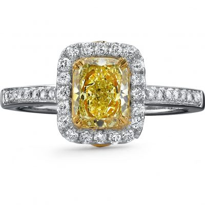 18K WHITE AND YELLOW GOLD FANCY YELLOW CUSHION DIAMOND RING NK18595FY WY 400x400 - 18K WHITE AND YELLOW GOLD FANCY YELLOW CUSHION DIAMOND RING NK18595FY-WY