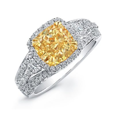 18K WHITE AND YELLOW GOLD FANCY YELLOW CUSHION DIAMOND RING NK20599FY WY 400x400 - 18K WHITE AND YELLOW GOLD FANCY YELLOW CUSHION DIAMOND RING NK20599FY-WY