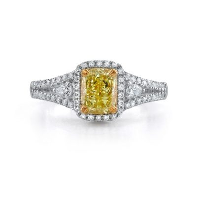 18K WHITE AND YELLOW GOLD FANCY YELLOW CUSHION SPLIT SHANK DIAMOND RING NK18509FY 400x400 - 18K WHITE AND YELLOW GOLD FANCY YELLOW CUSHION SPLIT SHANK DIAMOND RING NK18509FY