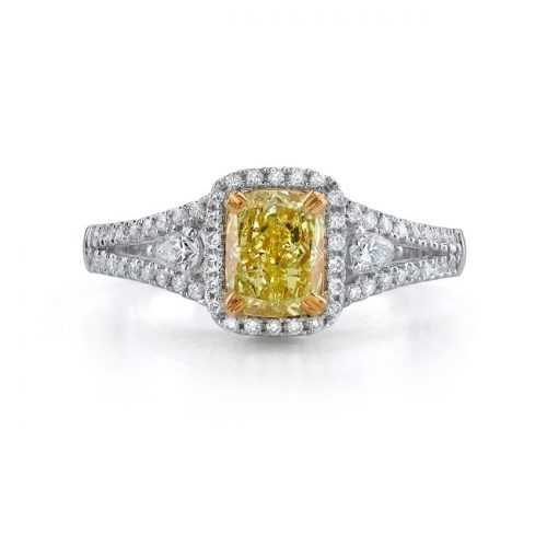 18K WHITE AND YELLOW GOLD FANCY YELLOW CUSHION SPLIT SHANK DIAMOND RING NK18509FY 500x500 - 18K WHITE AND YELLOW GOLD FANCY YELLOW CUSHION SPLIT SHANK DIAMOND RING NK18509FY