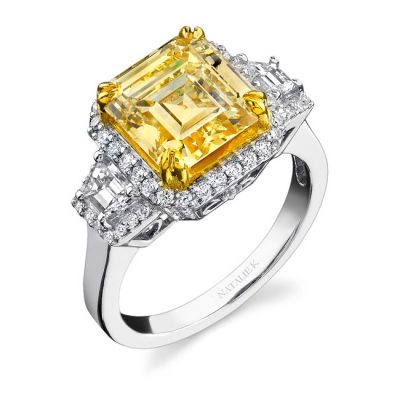 18K WHITE AND YELLOW GOLD RADIANT CUT FANCY YELLOW DIAMOND RING WITH TRAPEZOID SIDE STONES NK15692LY WY 400x400 - 18K WHITE AND YELLOW GOLD RADIANT CUT FANCY YELLOW DIAMOND RING WITH TRAPEZOID SIDE STONES NK15692LY-WY