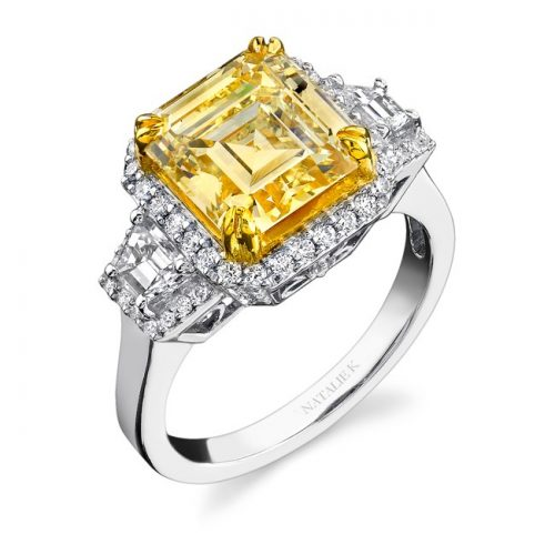 18K WHITE AND YELLOW GOLD RADIANT CUT FANCY YELLOW DIAMOND RING WITH TRAPEZOID SIDE STONES NK15692LY WY 500x500 - 18K WHITE AND YELLOW GOLD RADIANT CUT FANCY YELLOW DIAMOND RING WITH TRAPEZOID SIDE STONES NK15692LY-WY