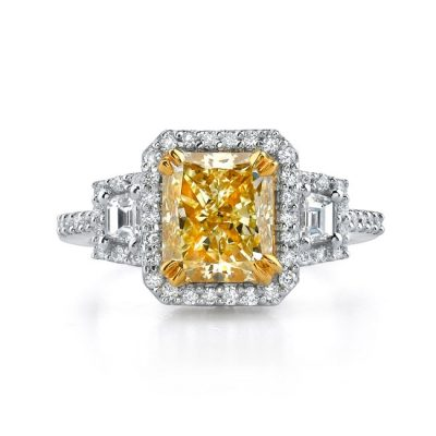 18K WHITE AND YELLOW GOLD RADIANT FANCY YELLOW DIAMOND RING NK17674FY 400x400 - 18K WHITE AND YELLOW GOLD RADIANT FANCY YELLOW DIAMOND RING NK17674FY