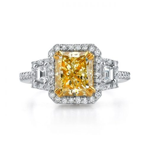 18K WHITE AND YELLOW GOLD RADIANT FANCY YELLOW DIAMOND RING NK17674FY 500x500 - 18K WHITE AND YELLOW GOLD RADIANT FANCY YELLOW DIAMOND RING NK17674FY