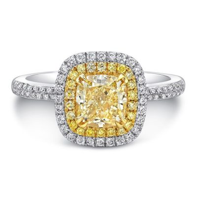 18K WHITE AND YELLOW GOLD YELLOW DIAMOND CENTER AND HALO ENGAGEMENT RING FM30887FY 18WY 400x400 - 18K WHITE AND YELLOW GOLD YELLOW DIAMOND CENTER AND HALO ENGAGEMENT RING FM30887FY-18WY