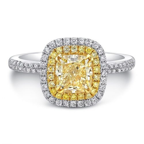 18K WHITE AND YELLOW GOLD YELLOW DIAMOND CENTER AND HALO ENGAGEMENT RING FM30887FY 18WY 500x499 - 18K WHITE AND YELLOW GOLD YELLOW DIAMOND CENTER AND HALO ENGAGEMENT RING FM30887FY-18WY