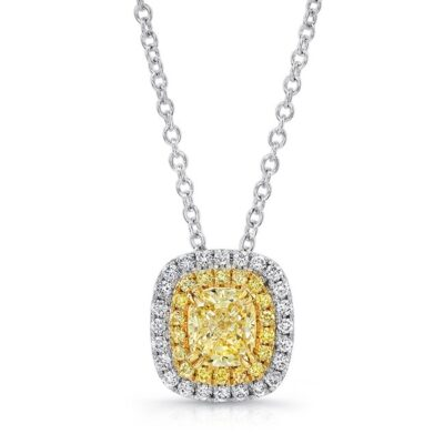 18K WHITE AND YELLOW GOLD YELLOW DIAMOND CENTER AND HALO PENDANT FM30885FY 18WY 400x400 - 18K WHITE AND YELLOW GOLD YELLOW DIAMOND CENTER AND HALO PENDANT FM30885FY-18WY