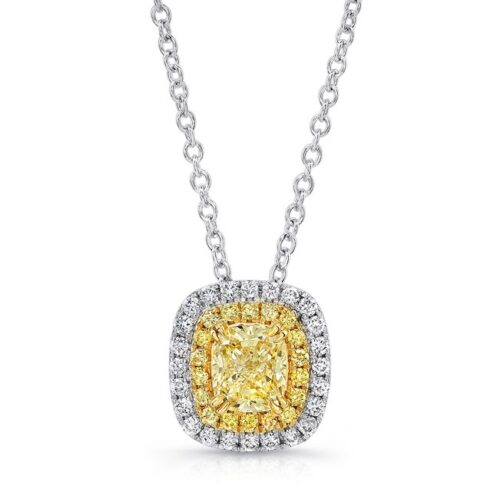 18K WHITE AND YELLOW GOLD YELLOW DIAMOND CENTER AND HALO PENDANT FM30885FY 18WY 500x499 - 18K WHITE AND YELLOW GOLD YELLOW DIAMOND CENTER AND HALO PENDANT FM30885FY-18WY