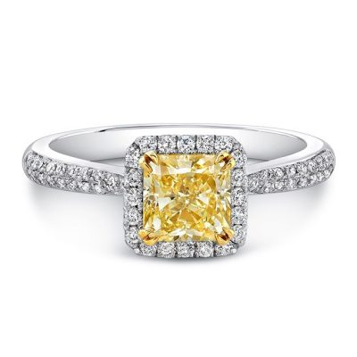 18K WHITE AND YELLOW GOLD YELLOW DIAMOND CENTER WHITE DIAMOND HALO ENGAGEMENT RING FM30880FY 18WY 400x400 - 18K WHITE AND YELLOW GOLD YELLOW DIAMOND CENTER WHITE DIAMOND HALO ENGAGEMENT RING FM30880FY-18WY