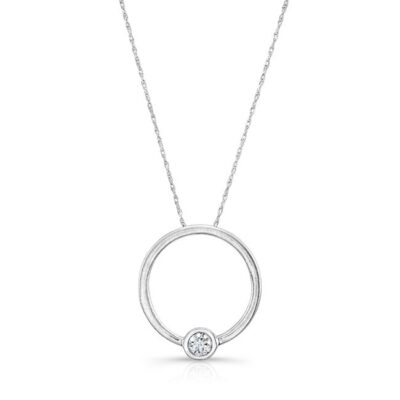 18K WHITE GOLD CIRCLE WHITE DIAMOND PENDANT FM29100 18W 400x400 - 18K WHITE GOLD CIRCLE WHITE DIAMOND PENDANT FM29100-18W