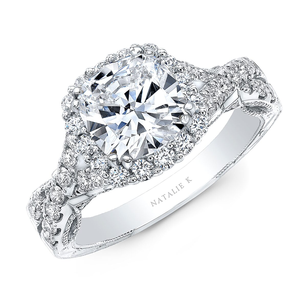 engagement shank diamond by floating cut natalie product ring halo rings k diamonds round plain