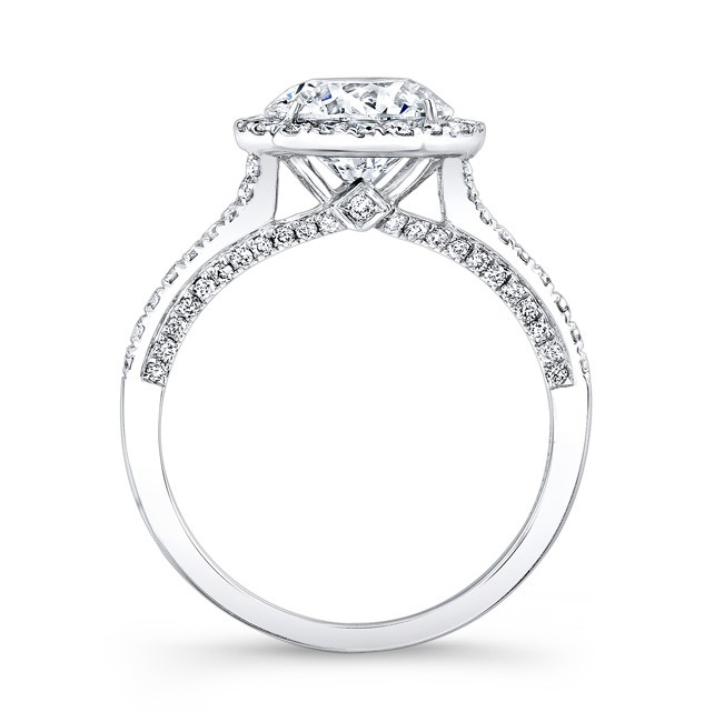 18K WHITE GOLD DIAMOND HALO AND GALLERY ENGAGEMENT RING FM2676418W