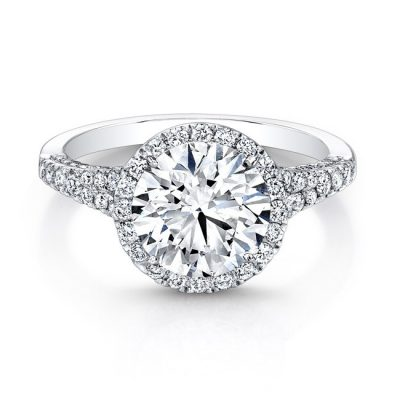 18K WHITE GOLD DIAMOND HALO AND GALLERY ENGAGEMENT RING FM26764 18W 400x400 - 18K WHITE GOLD DIAMOND HALO AND GALLERY ENGAGEMENT RING FM26764-18W