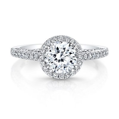 18K WHITE GOLD DIAMOND HALO ART DECO GALLERY ENGAGEMENT RING FM27190 18W 400x400 - 18K WHITE GOLD DIAMOND HALO ART DECO GALLERY ENGAGEMENT RING FM27190-18W