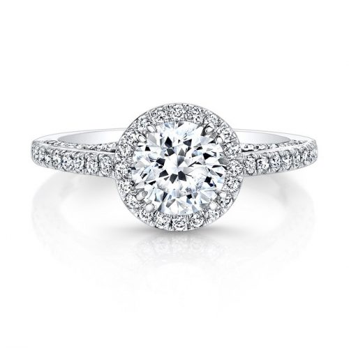 18K WHITE GOLD DIAMOND HALO ART DECO GALLERY ENGAGEMENT RING FM27190 18W 500x499 - 18K WHITE GOLD DIAMOND HALO ART DECO GALLERY ENGAGEMENT RING FM27190-18W